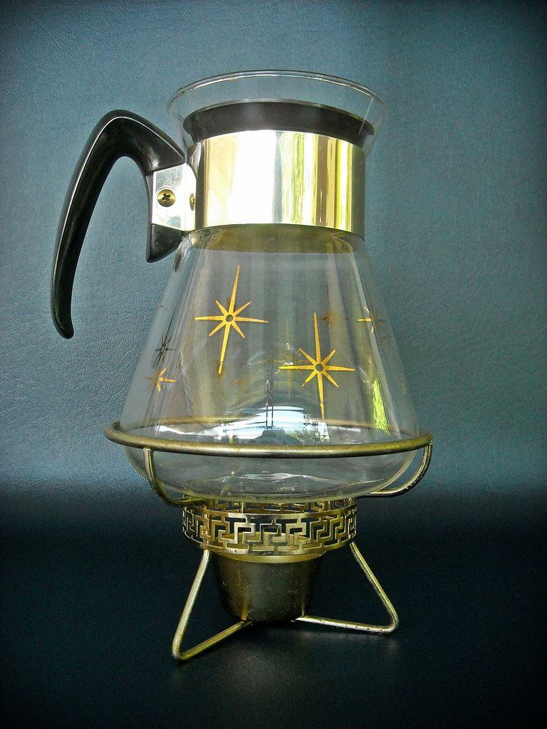 Starburst Coffee Carafe and Warmer. Vintage coffee pot