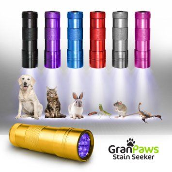 UV Black-Light Flashlight Pet Urine Detector. Ultra-Bright Led Cordless Stain Finder for Detecting Dry Dog Cat and Pet Urine/Pee. GranPaws� Stain Seeker Rated the Best Professional Quality Bright Led Cordless Light. PERFECT for Traveling to Check Bathrooms, Bedding and Sanitation. A Unique Gift Idea for Men, Women or Pet owners of all Ages.