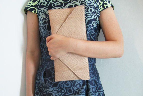 PASTEL - Nude Cream Envelope Python Snakeskin Leather Clutch