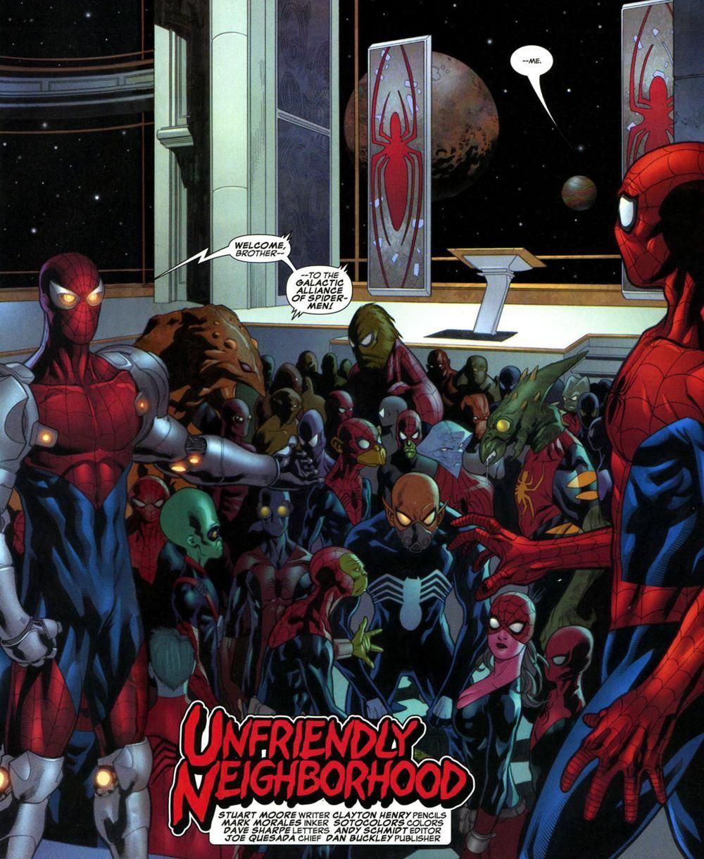 Galactic Alliance of Spider-Men (Earth-616) -  Galactic Alliance of Spider-Men (Earth-616) – Marvel Comics Database  - #alliance #earth #Earth616 #galactic #marvelcomicsart #marvelcomicsartwork #marvelcomicscharacters #marvelcomicscovers #marvelcomicsfunny #marvelcomicsstrip #marvelcomicsvintage #spider #SpiderMen