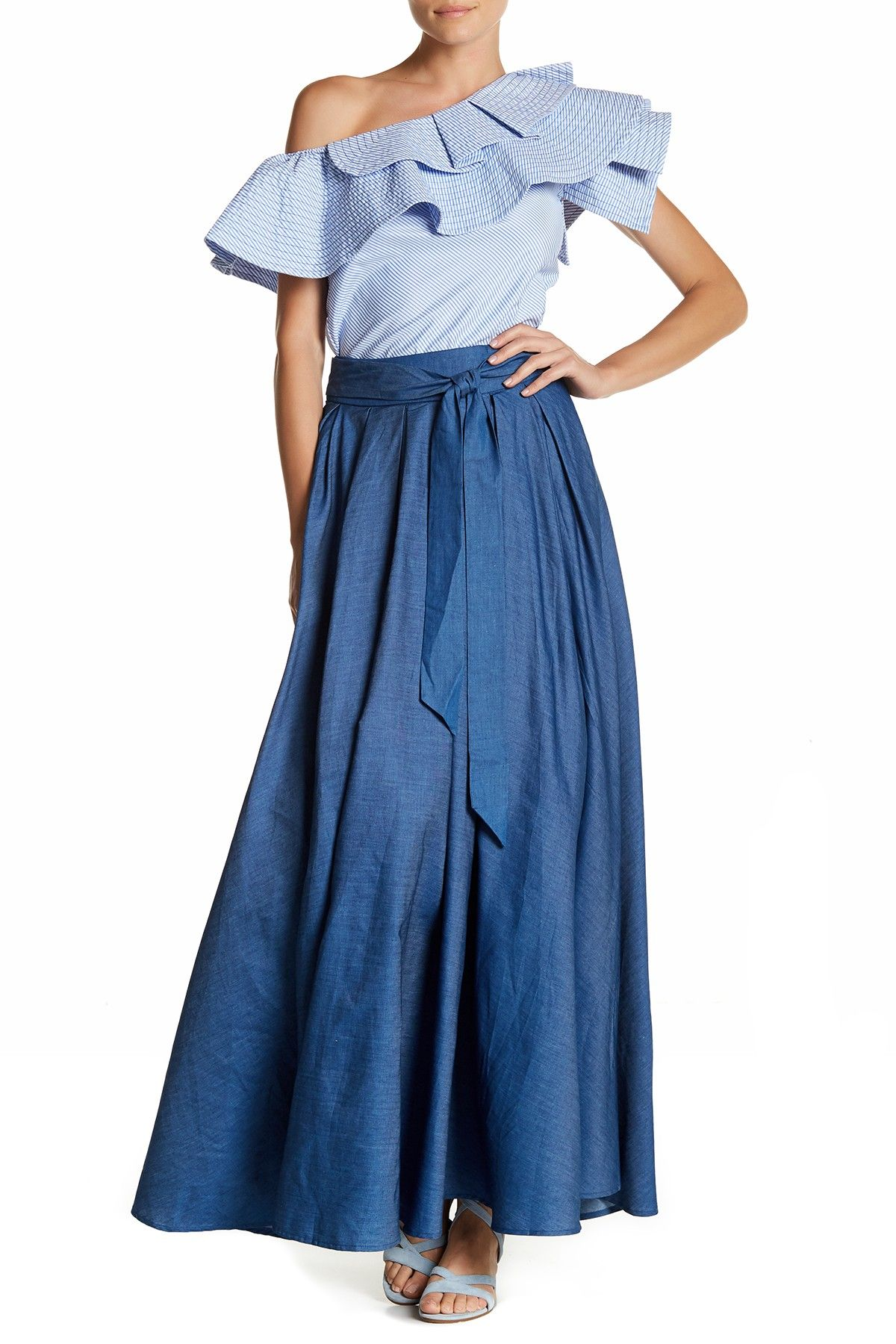Denim maxi skirt by gracia on hautelook my style pinterest