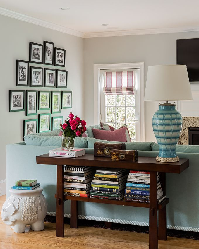 House Of Turquoise: Elizabeth Home Decor And Design, Sofa/console Table  With Books/black Framed Photos