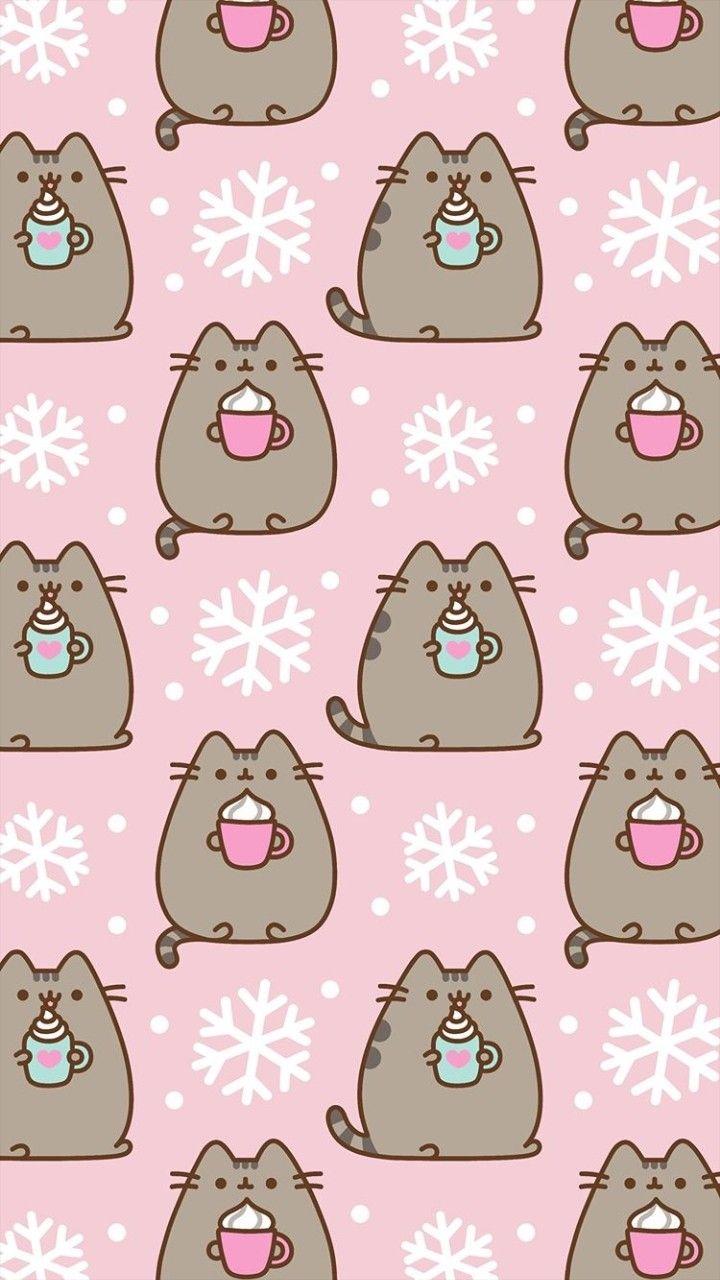 Winter Coco Pusheens Winter Wallpaper Kawaii Wallpaper Cute Christmas Wallpaper