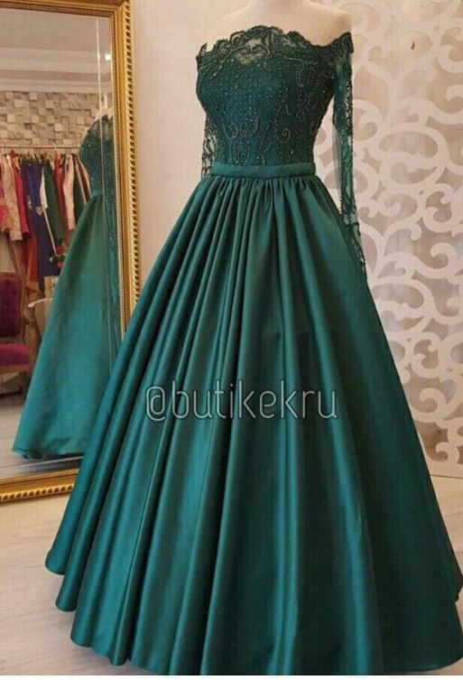 Hunter Green Prom Dresses Ball Gown Long Sleeve La
