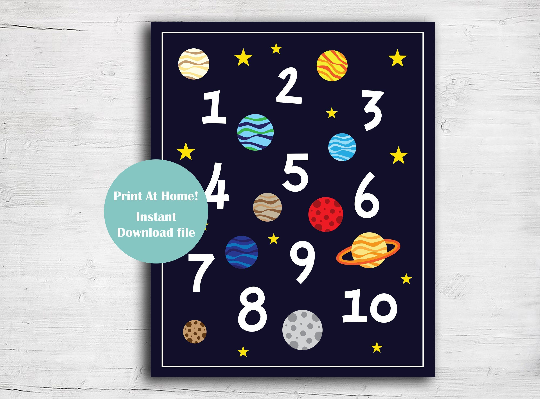 Outer Space Numbers Print Space Numbers Nursery Numbers