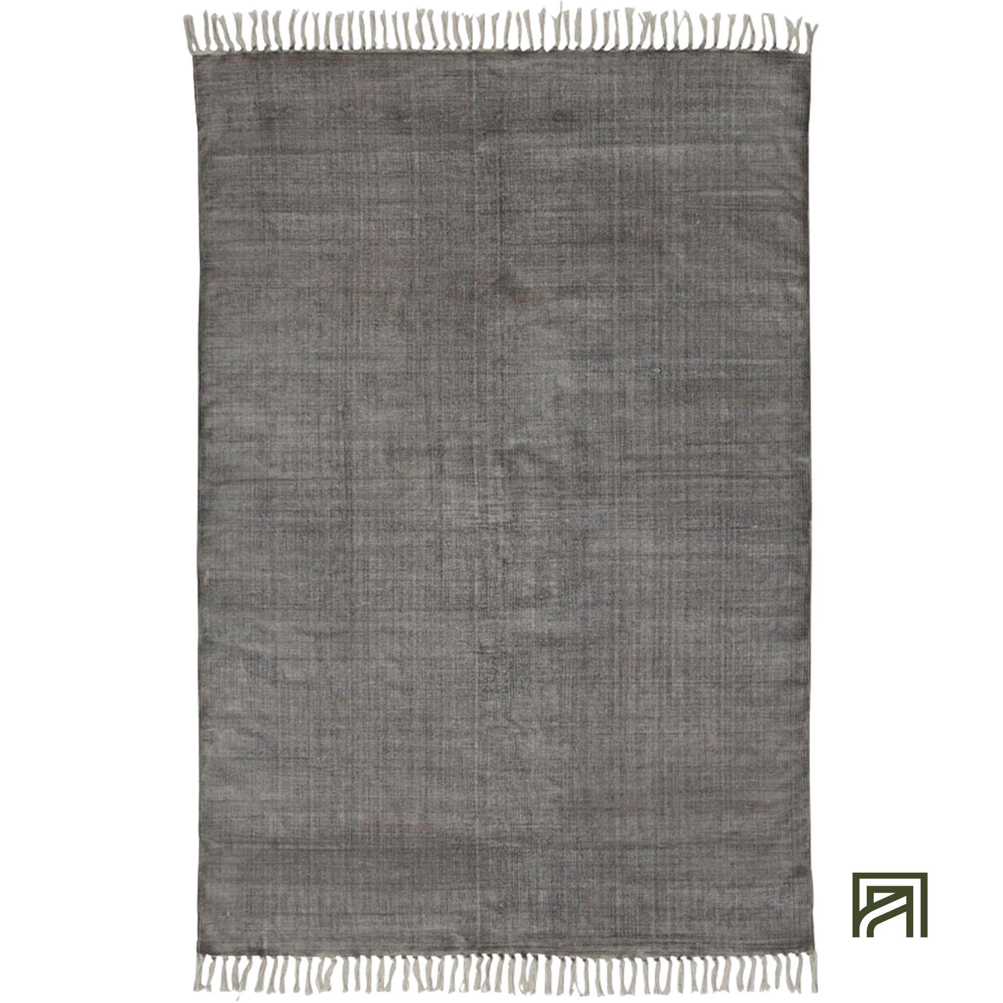 fez tapis a frange en coton gris