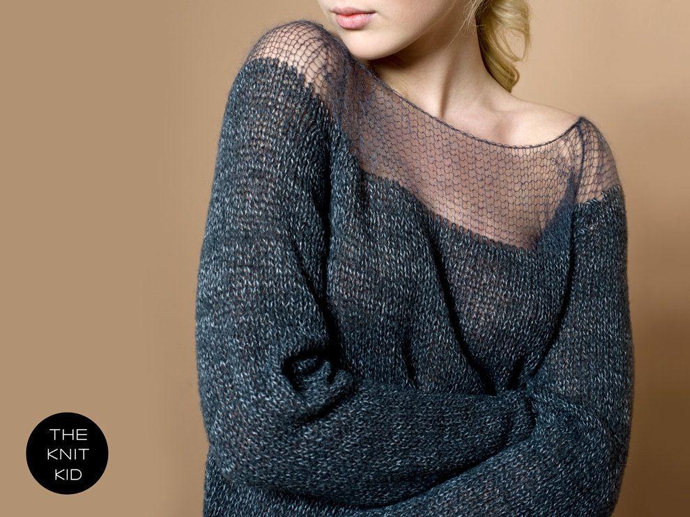 sweater bulky transparent mohair merino grey theknitkid. €249,90, via Etsy.