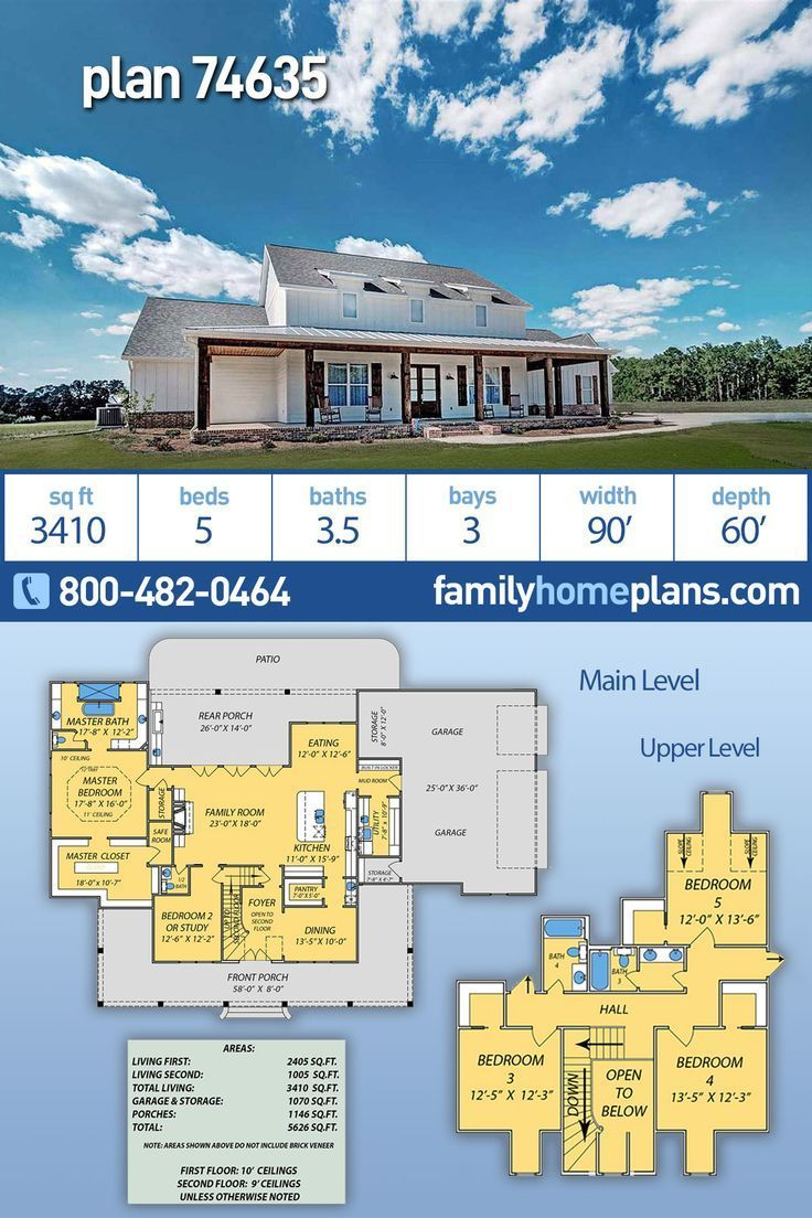 New 5 bedroom country house plan 74635 has 3410 sq ft and