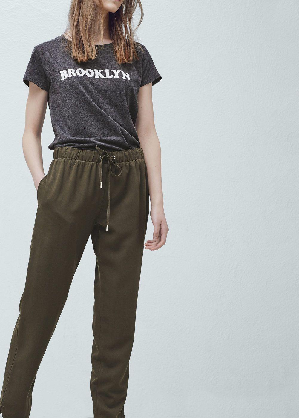 3fcec013a0c1 Pantalon baggy fluide - Pantalons pour Femme   MANGO France