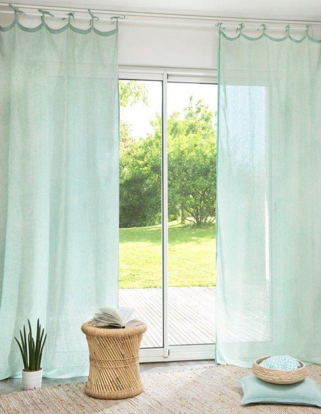 une pointe de vert menthe dans la d co design rideaux rideaux nouettes et rideaux lin. Black Bedroom Furniture Sets. Home Design Ideas