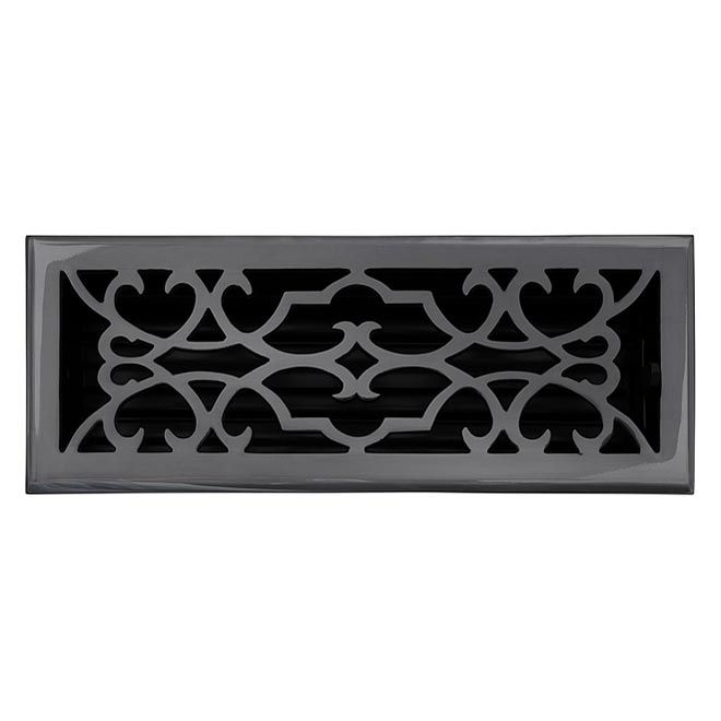 This Dark Bronze Finish Solid Brass Floor Register Heat Vent Cover With A Victorian Scroll Design Fits 4 X 12 X 2 Duct Floor Registers Brass Decor Flooring