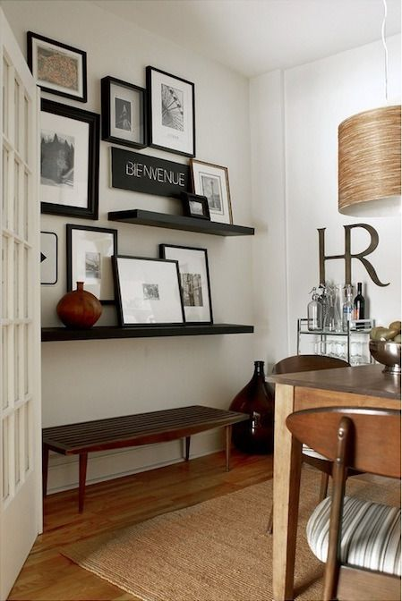 Floating Shelves Combined With Hanging Pictures Another