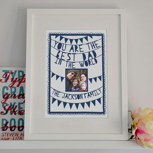 Personalised Fathers Day Photo Papercut Print