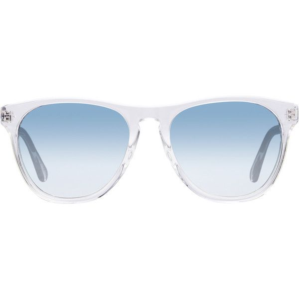 """Oliver Peoples Women's \""""Daddy B\"""" Sunglasses (1.125 BRL) ❤ liked on Polyvore featuring accessories, eyewear, sunglasses, glasses, blue, white, mirror lens sunglasses, blue sunglasses, blue lens glasses and clear mirrored sunglasses"""