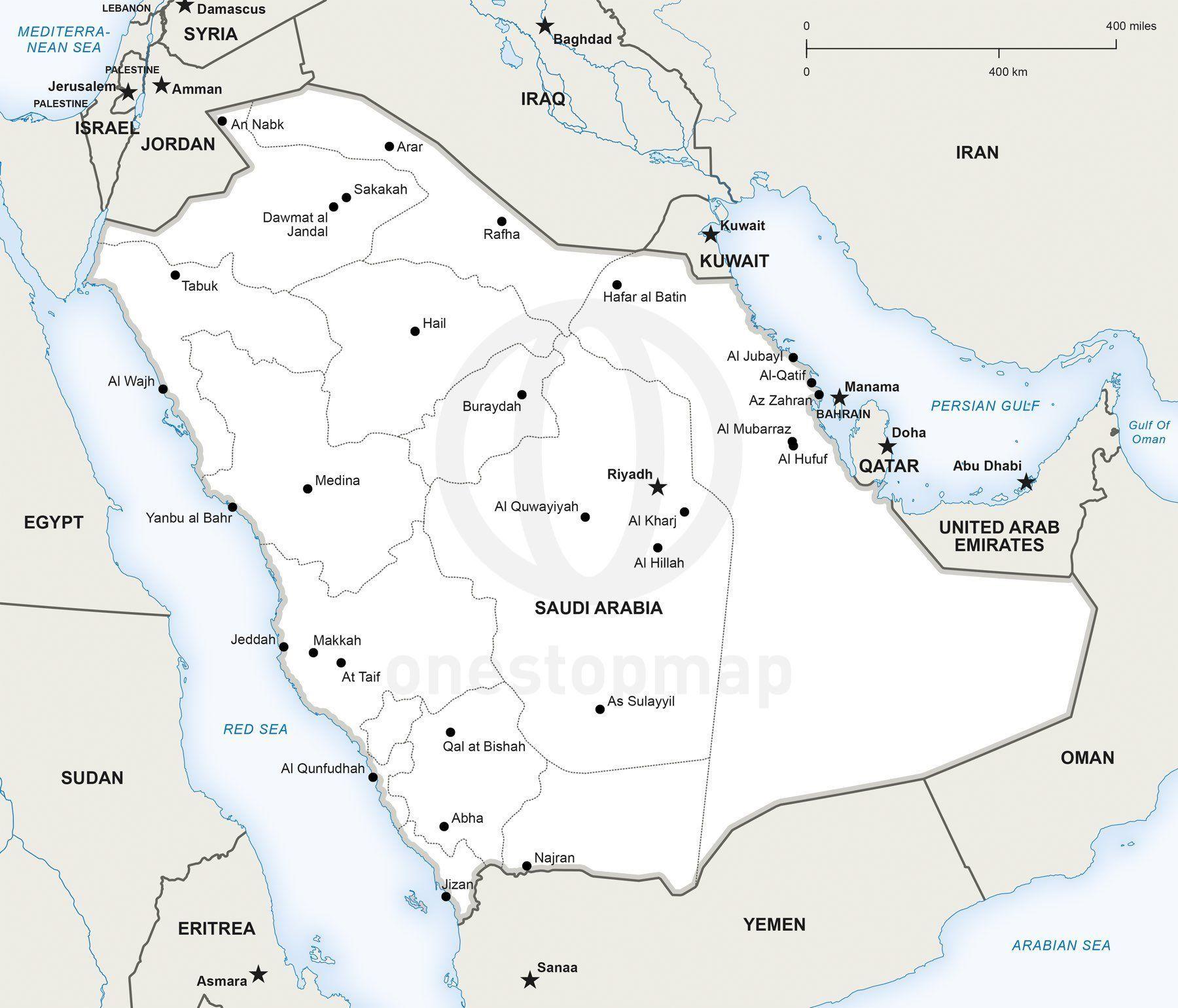 Vector Map of Saudi Arabia political Saudi arabia