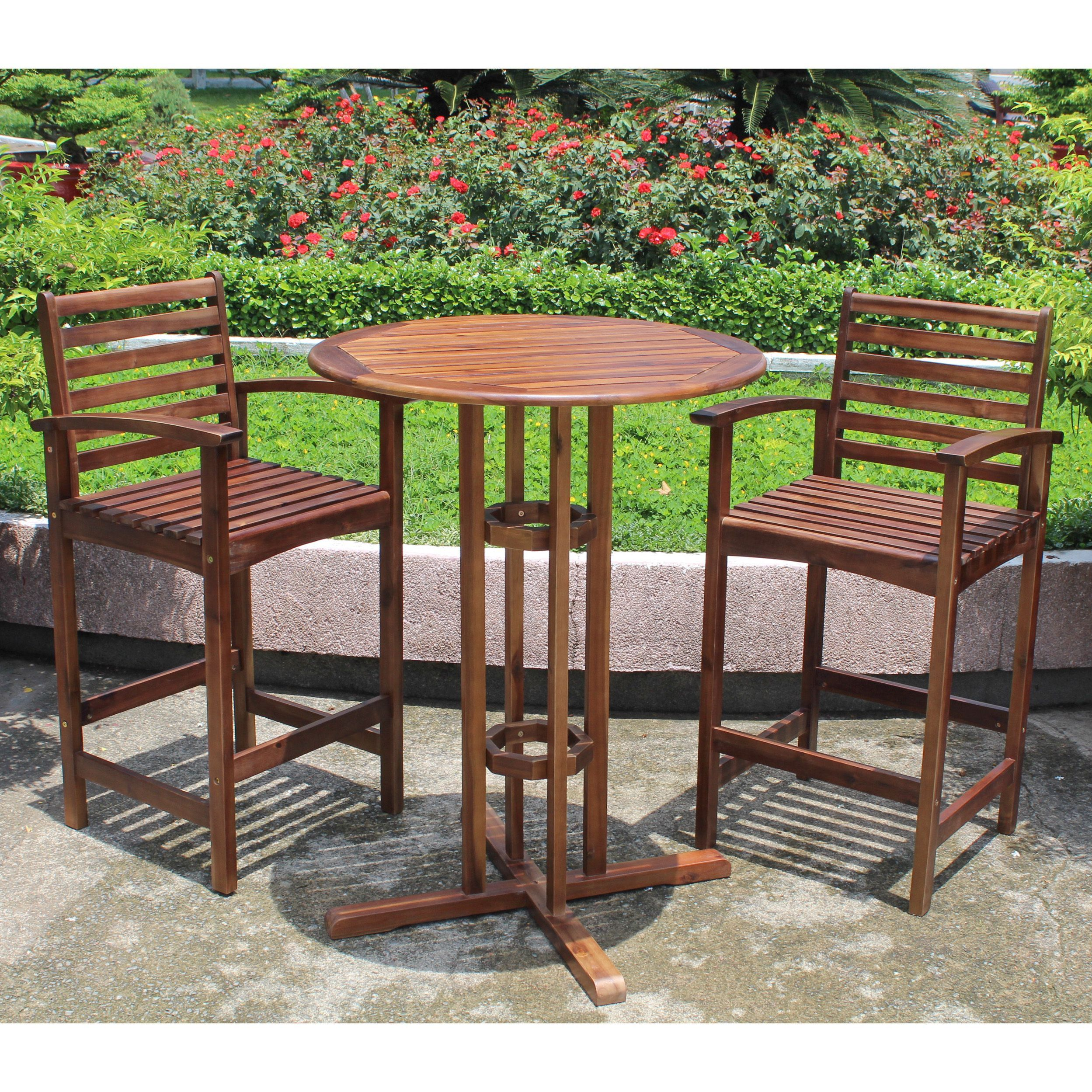 International caravan highland outdoor 3 piece bar height bistro set acacia hardwood oil finish vietnam patio furniture
