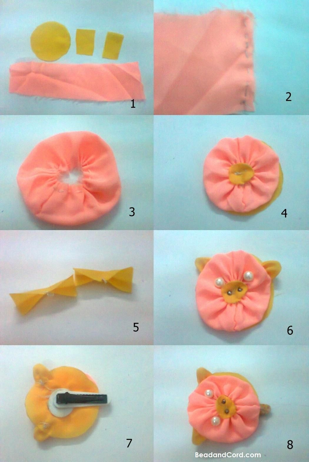 Diy Cute Piggy Hair Clip Bead Cord