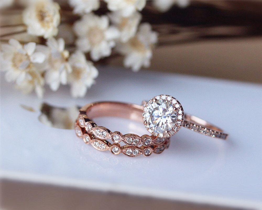 Ct brilliant moissanite engagement ring ring set solid k rose