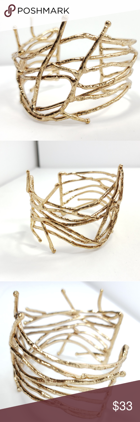 GORGEOUS gold tone branch style bracelet GORGEOUS  No markings of maker  *a7 Jewelry Bracelets #myposhpicks