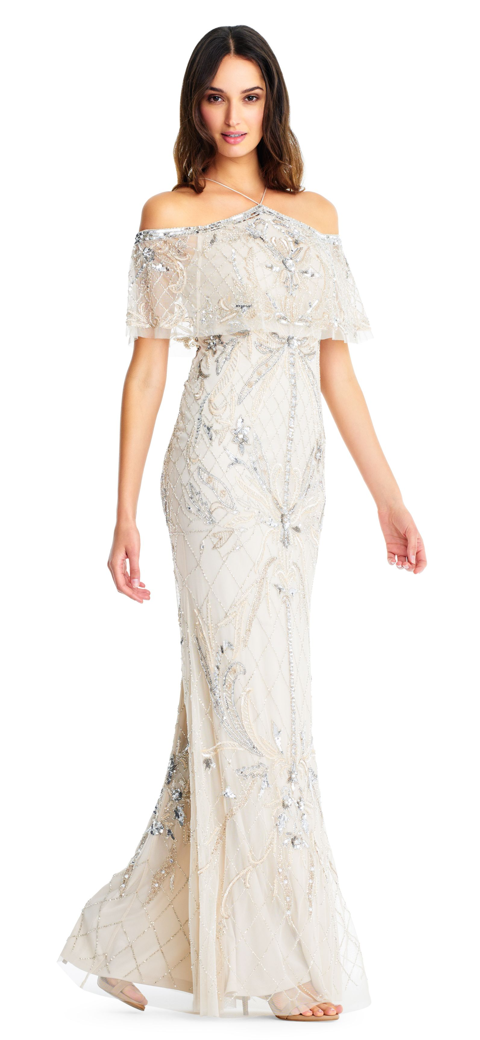 Style Number Beaded Dress with Cold Shoulder Sleeves