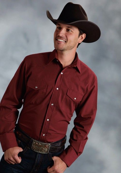 4361ac6a9 Roper® Men s Burgundy Solid Broadcloth Long Sleeve Pearl Snap Cowboy Shirt