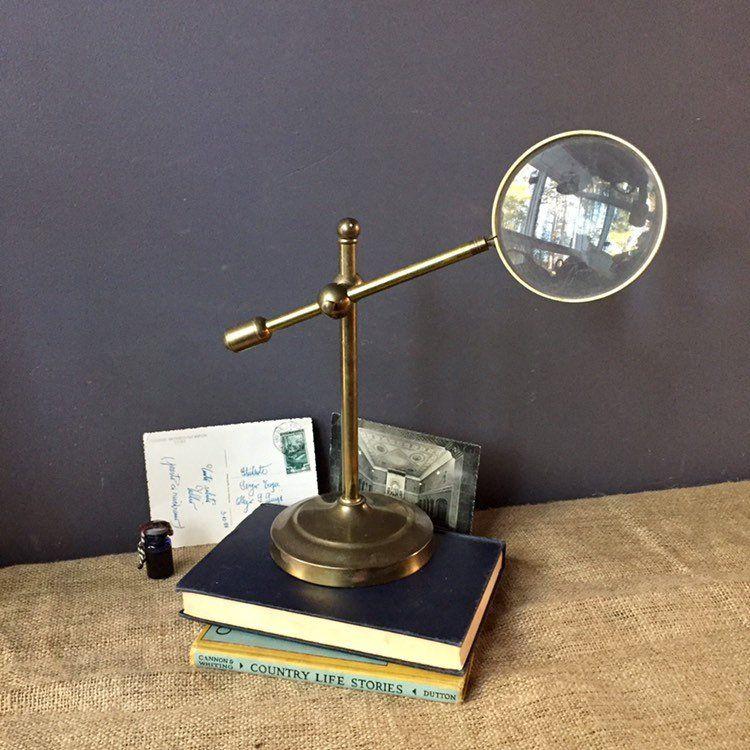 Vintage Brass Magnifying Glass Desk Top Stand Adjustable Arm