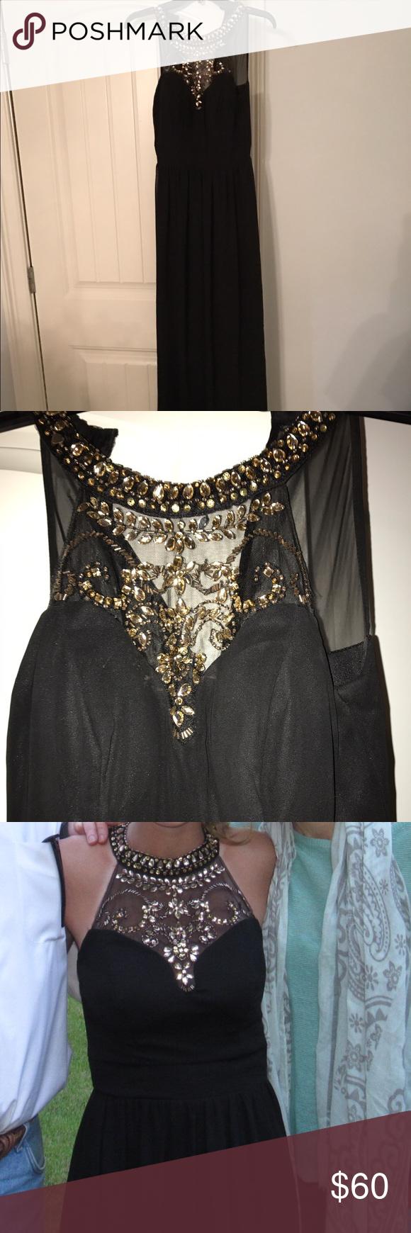 B. Darlin long black dress long black dress with gold beaded design B Darlin Dresses Prom