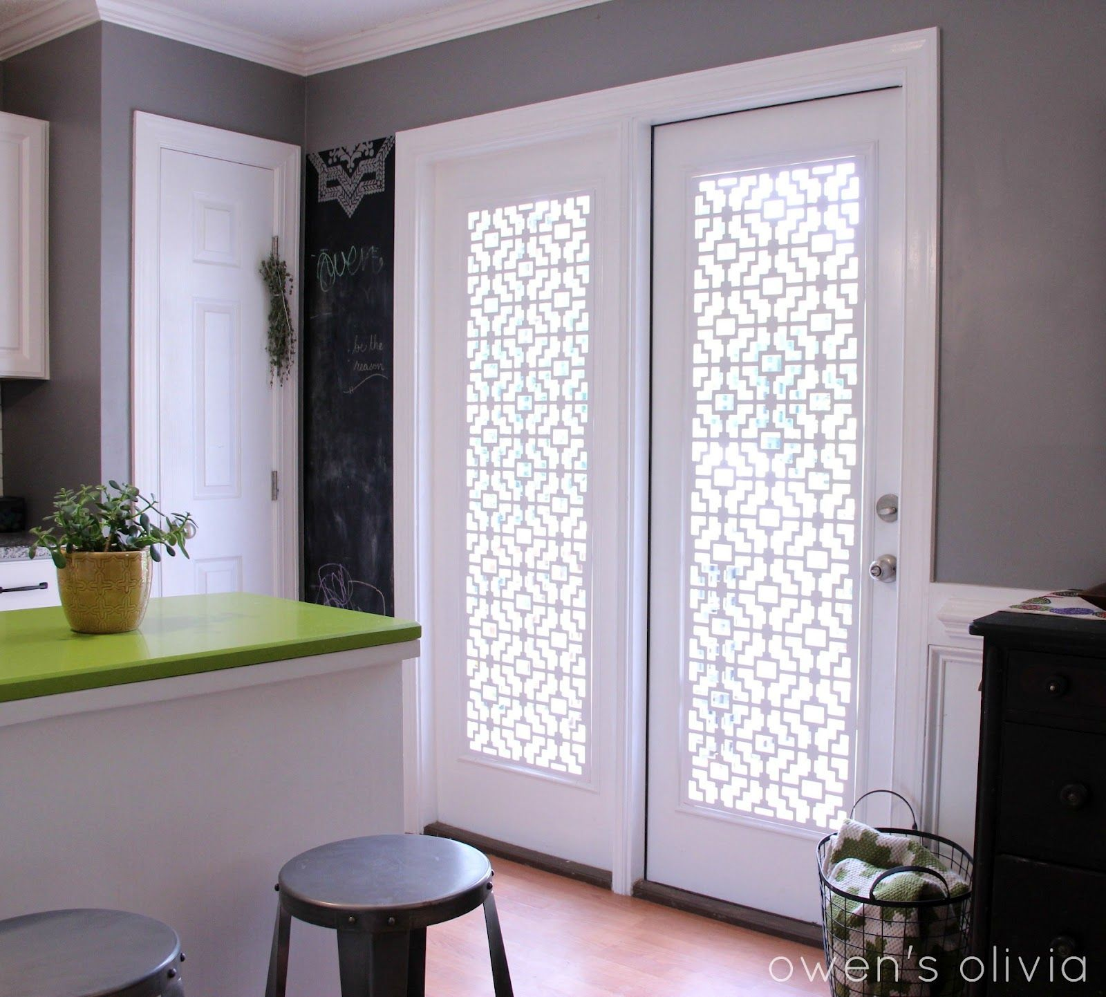 Owen S Olivia Custom Window Treatments Using Pvc Glass Door Coverings Patio Door Coverings Door Coverings