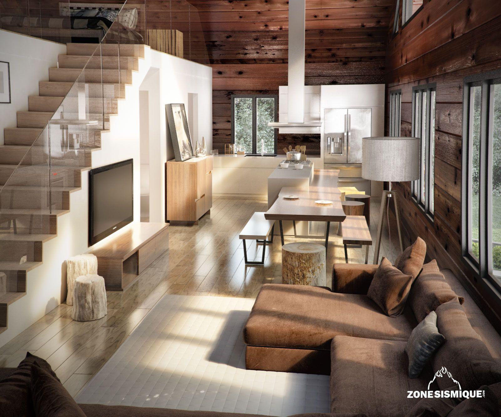 zone sismique bois hamel chalet interieur salon cuisine v1