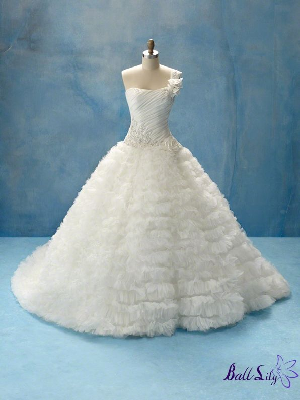 www.balllily.com $329 Ball Gown One Shoulder Wedding Dress WDOS070 ...