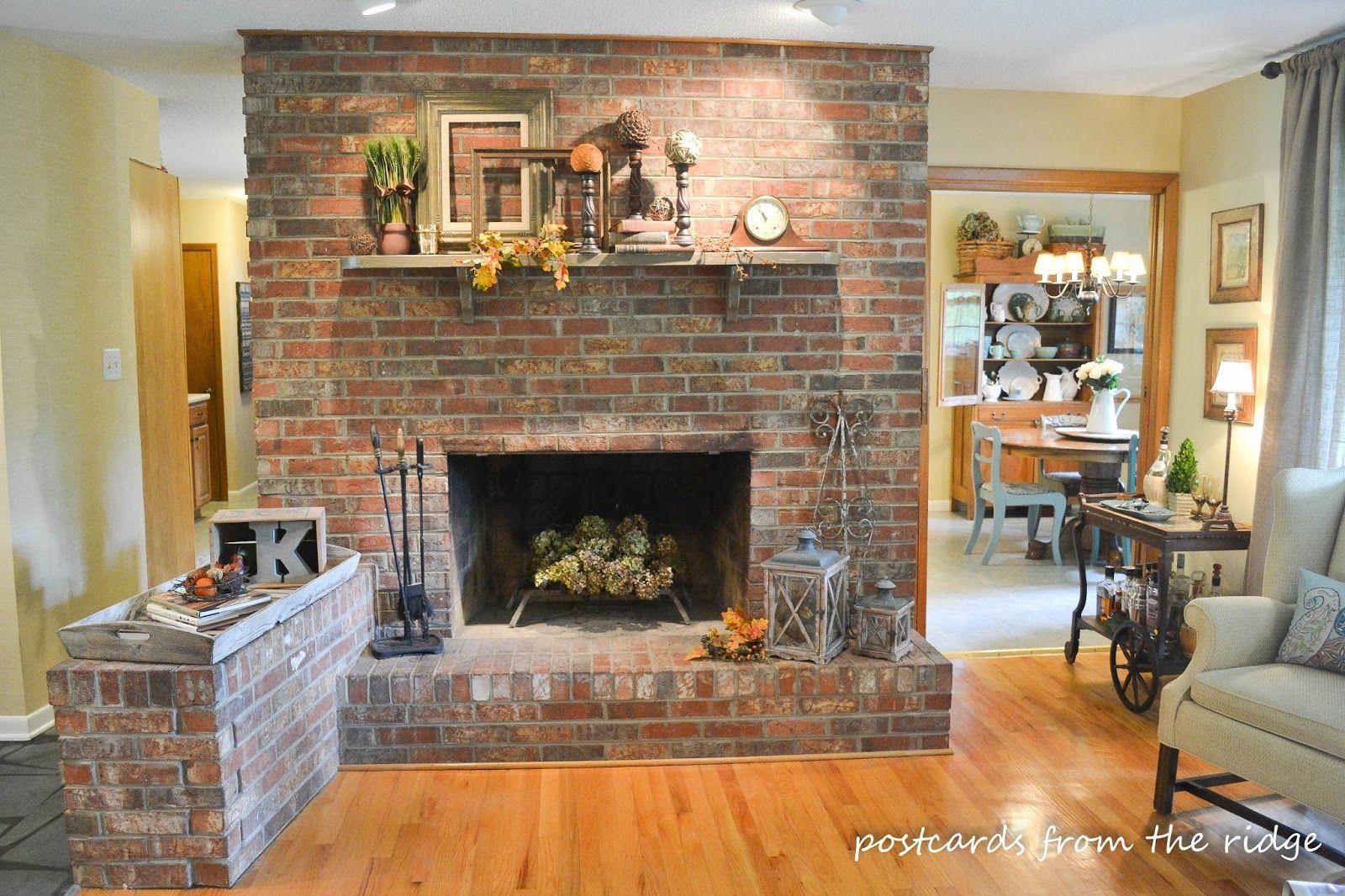 Fall Mantel Decor Traditional Version Brick Fireplace