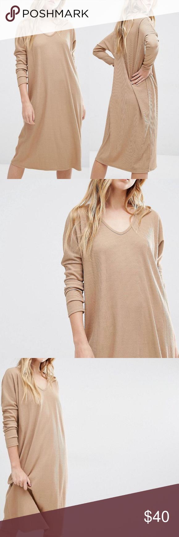 Asos Tan Long Sleeve Ribbed Lightweight Dress Lightweight Dress Ribbed Midi Dress Clothes Design [ 1740 x 580 Pixel ]