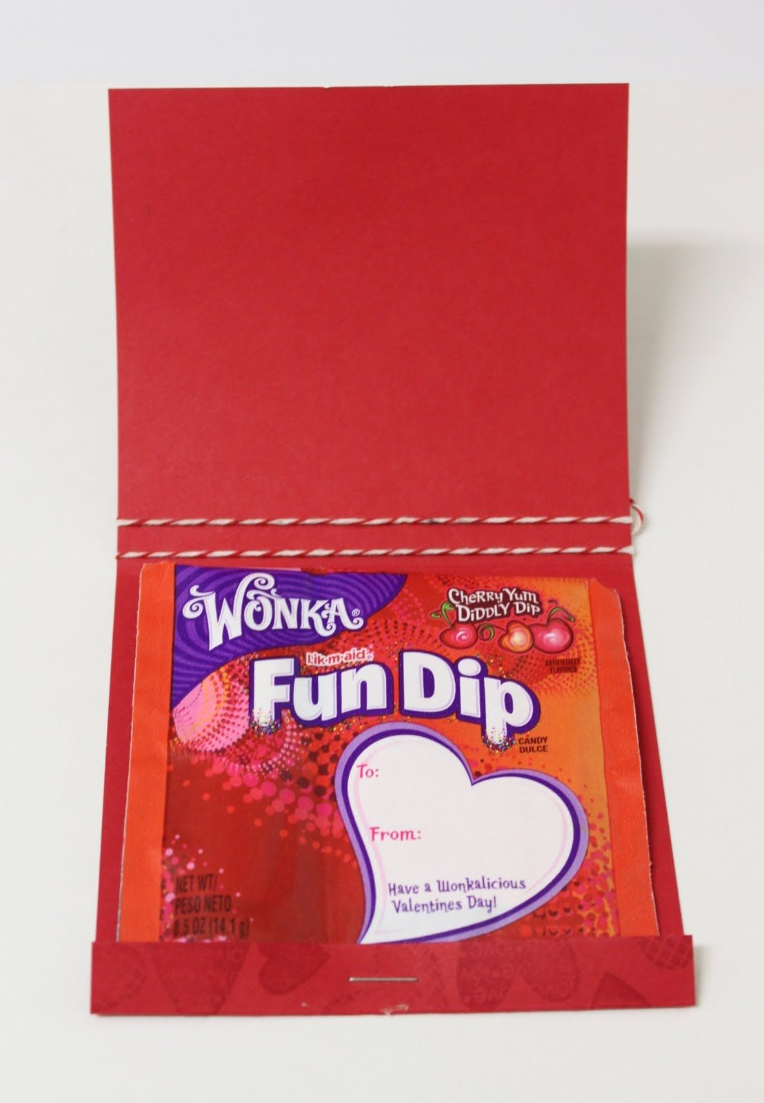 Valentines matchbook is cut at 8 1/2″ x 4 1/4″, and scored at the 1/2″ and 4 1/2″ mark.