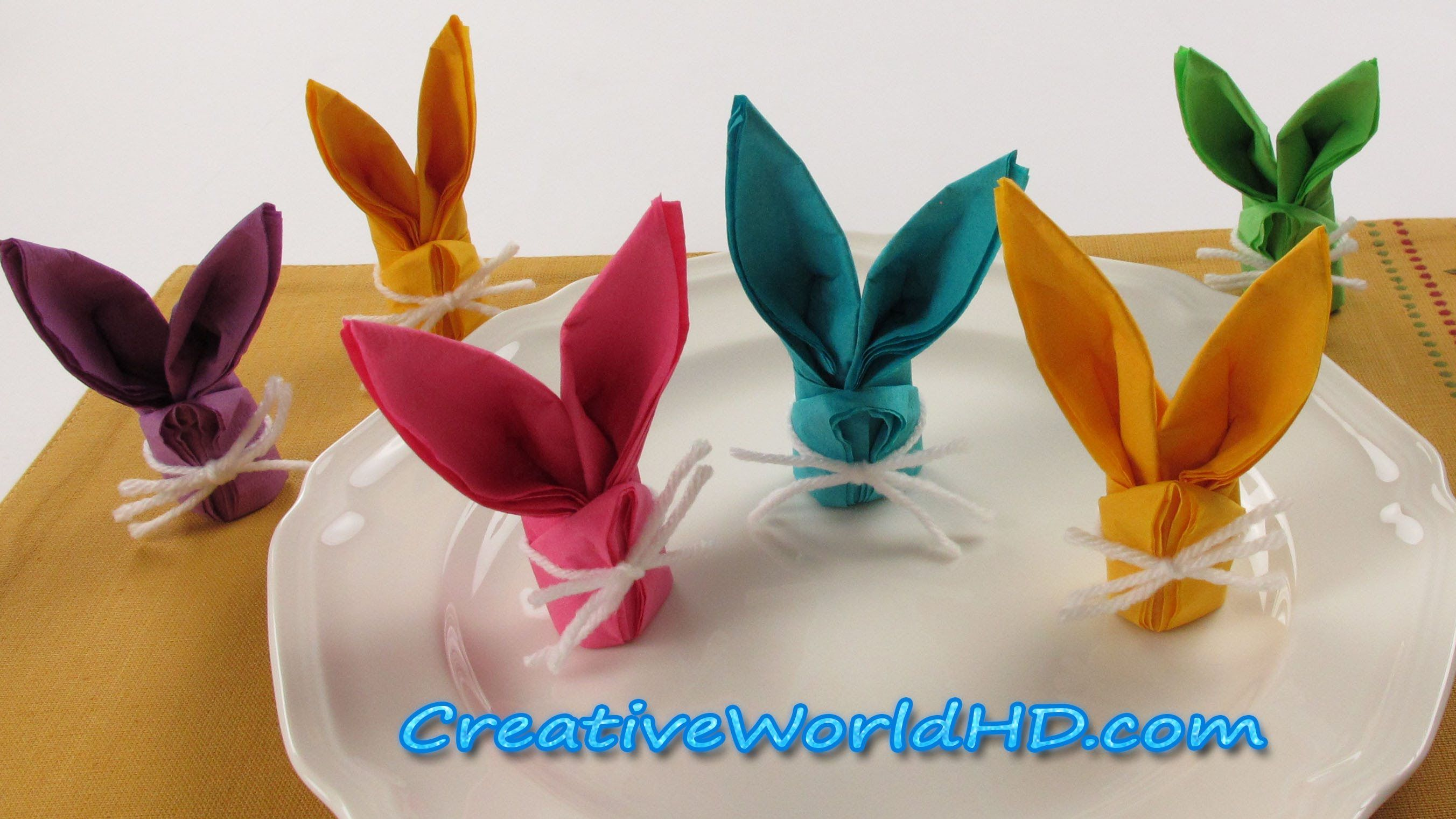 Diy Paper Crafts Bunny Rabbit Napkins Folding How To Easter Kids Origami Tutorial Easter Napkin Folding Bunny Napkin Fold Easter Napkins