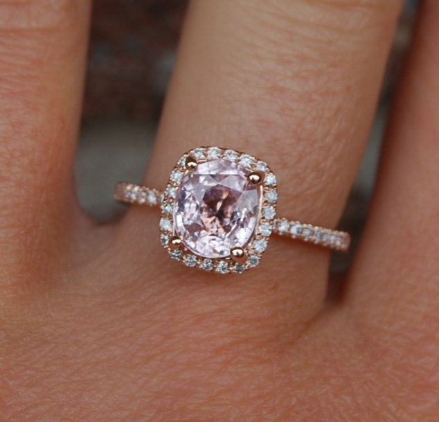 I Would Want In White Platinum Gold Cushion Lavender Peach Champagne Shire Rose Diamond Ring Engagement