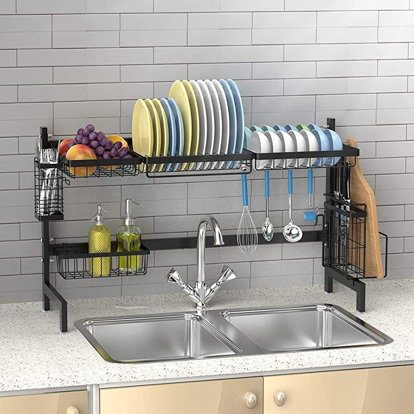 Amazon Com Sorbus Over The Sink Dish Drying Display Rack Stand Draining Rack Sink Organizer W Kitchen Counter Storage Sink Organizer Studio Apartment Storage
