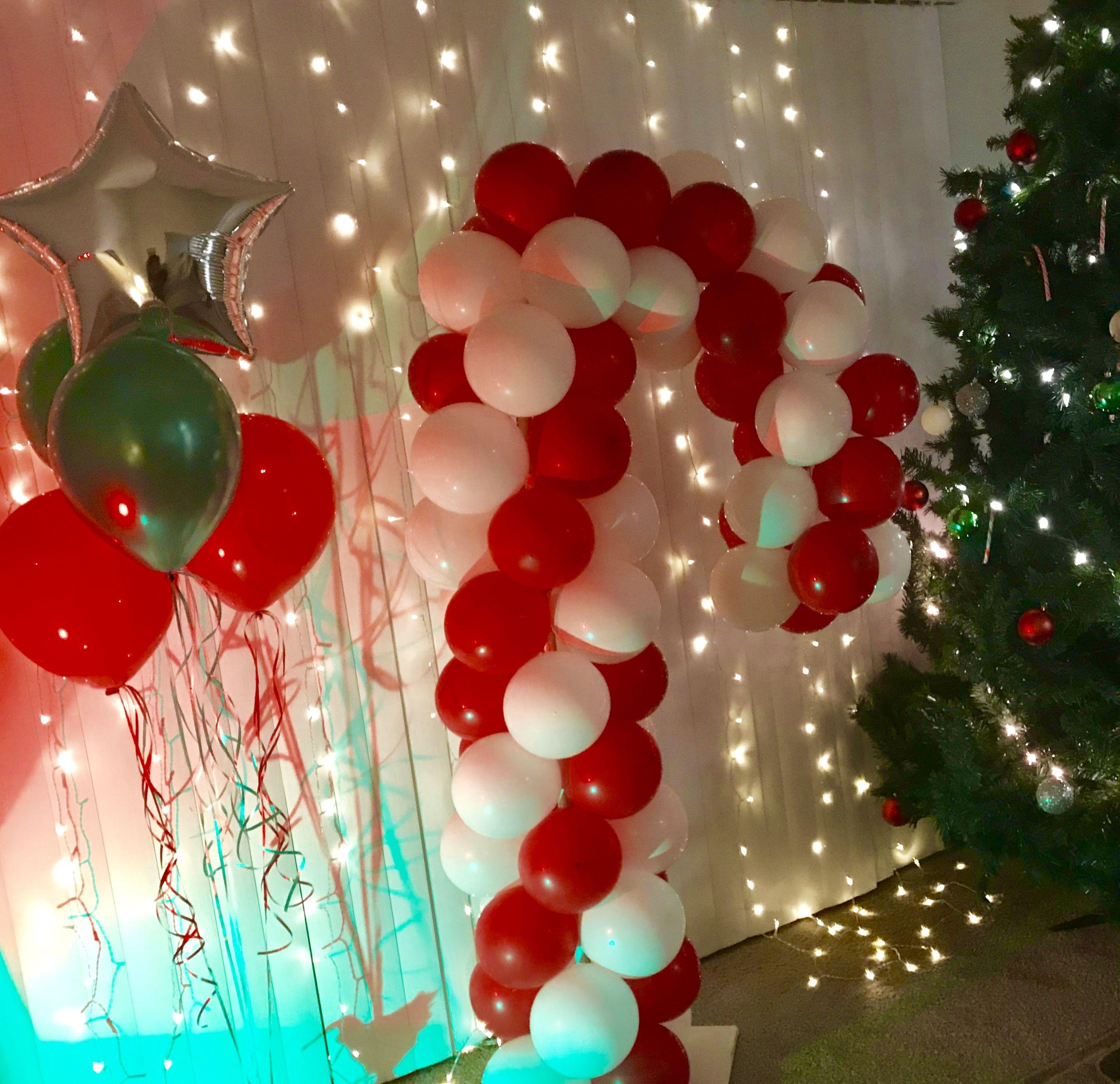 Candy Cane Balloon Columns Christmas Party Decoration Ideas