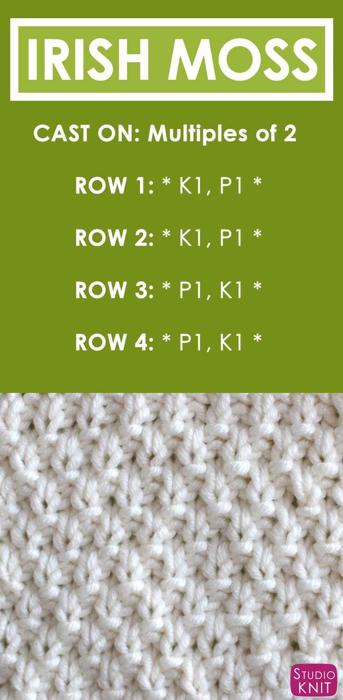 How to Knit the IRISH MOSS Stitch Pattern with | Puntadas, Tejido y ...