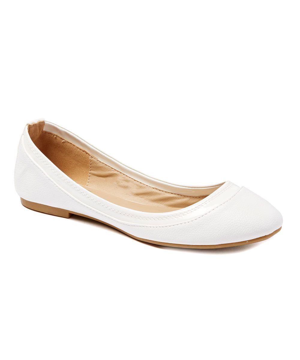 White Patent-Trim Mabel Ballet Flat