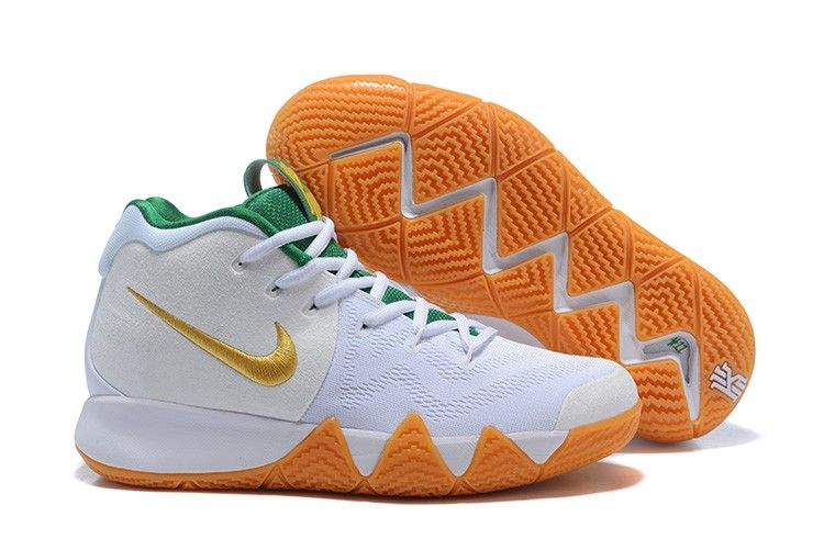 abda8bc107c0 2018 Nike Kyrie 4 White Gold-Green For Sale