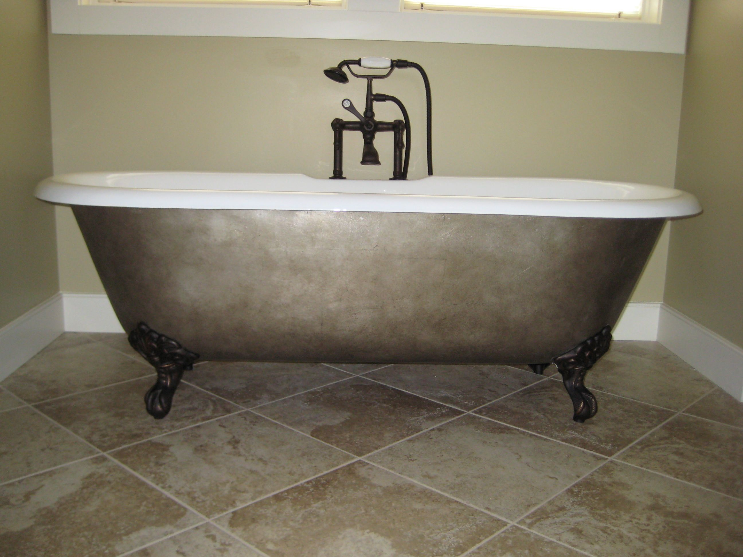 Clawfoot Tub That I Silver Leafed And Then Glazed Shower Tub
