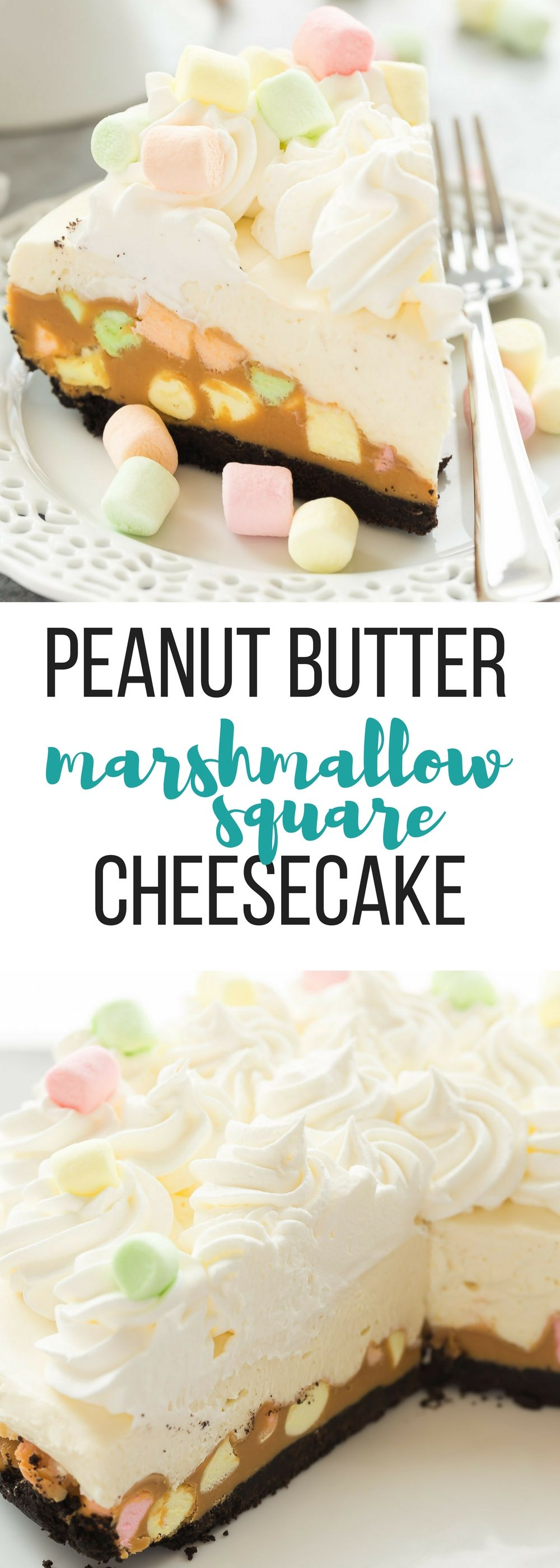 This No Bake Peanut Butter Marshmallow Square Cheesecake is a fun twist on a classic Christmas square! It's an easy dessert your guests will be raving over! Includes step by step recipe video. | no bake dessert | Christmas dessert | Christmas candy | Christmas baking | butterscotch | cream cheese | no bake cheesecake #cheesecake #christmas #baking #marshmallow #dessert #confettisquares