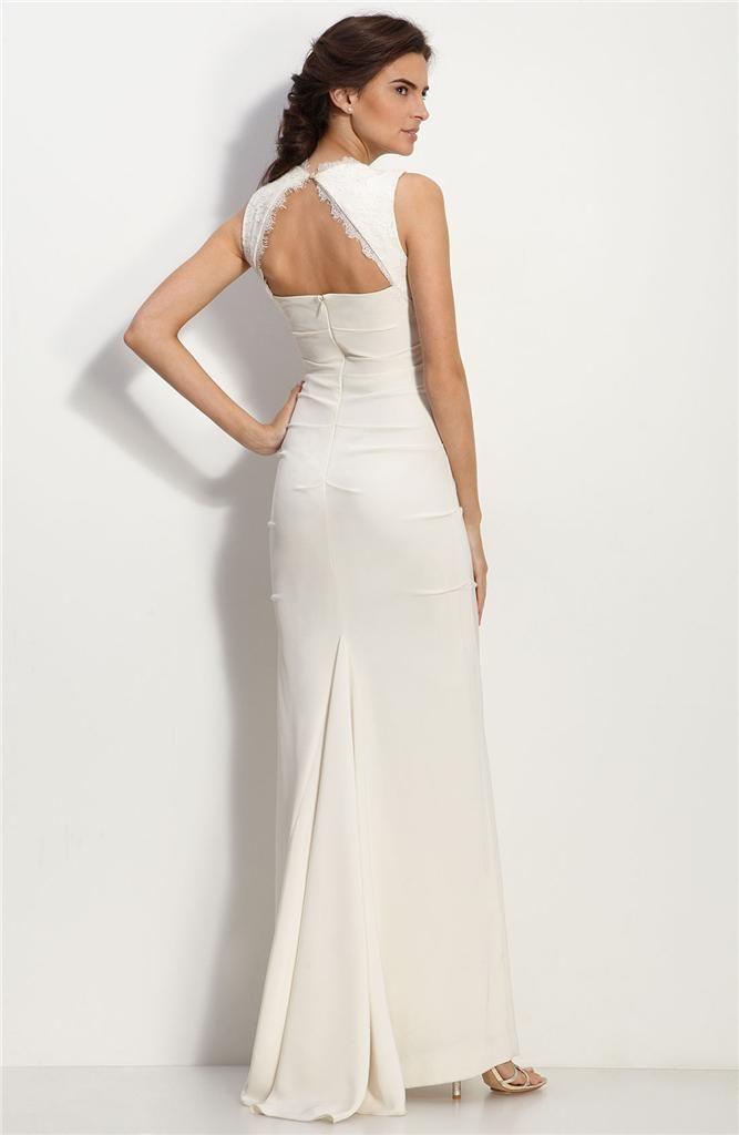 $395 Nicole Miller Cutout Back Crêpe de Chine Wedding Gown Dress Sz ...