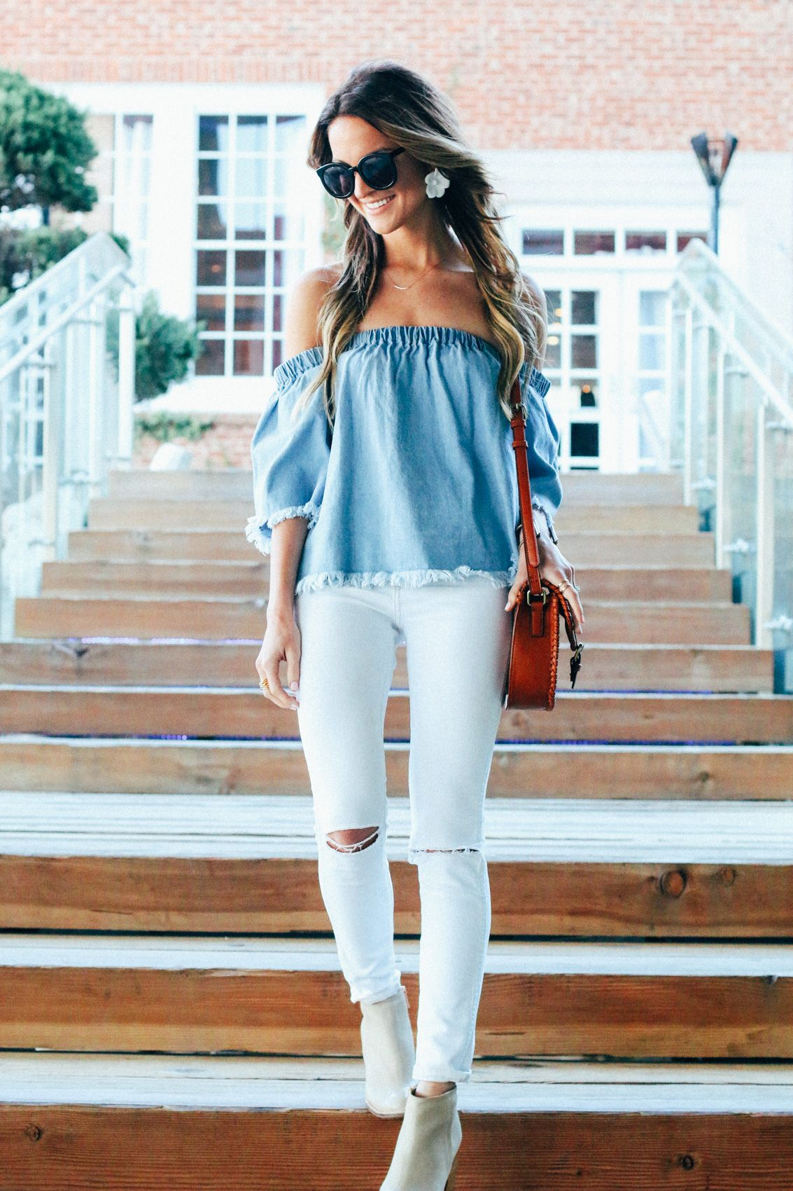 e21f1e6ac1a0ad denim off the shoulder top with white skinnies for an easy spring look