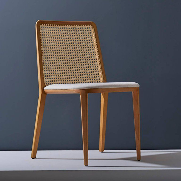 Minimal style, solid wood chair, textiles or leather seatings, caning backboard