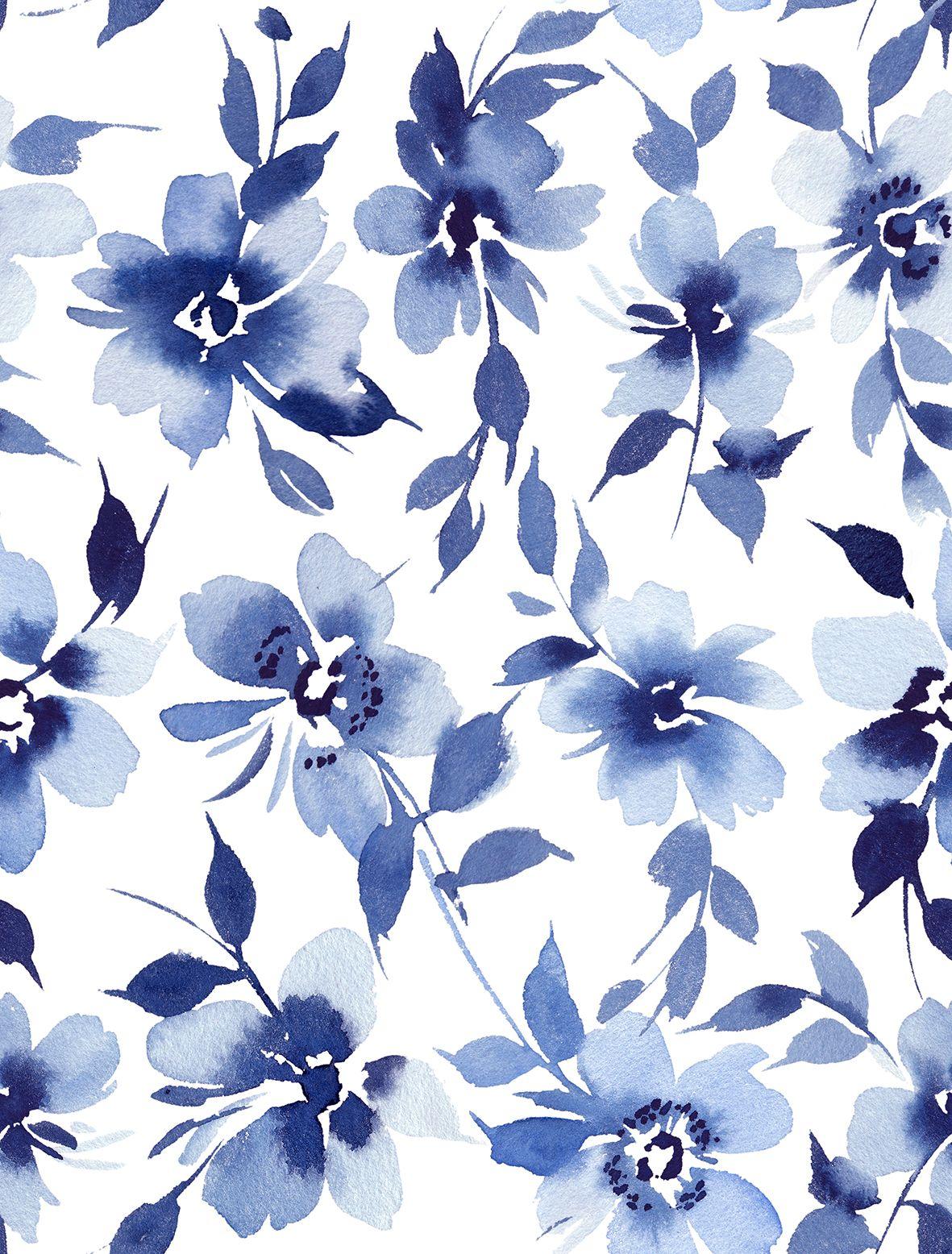 Indigo Blue Navy Floral Background Spiral Notebook By