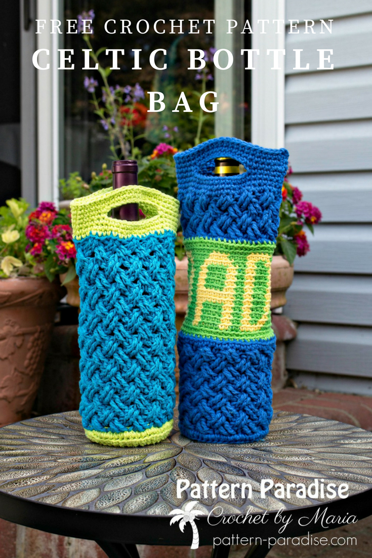 Free Crochet Pattern: Celtic Bottle Bag | Crochet/Knit Bag/Basket ...
