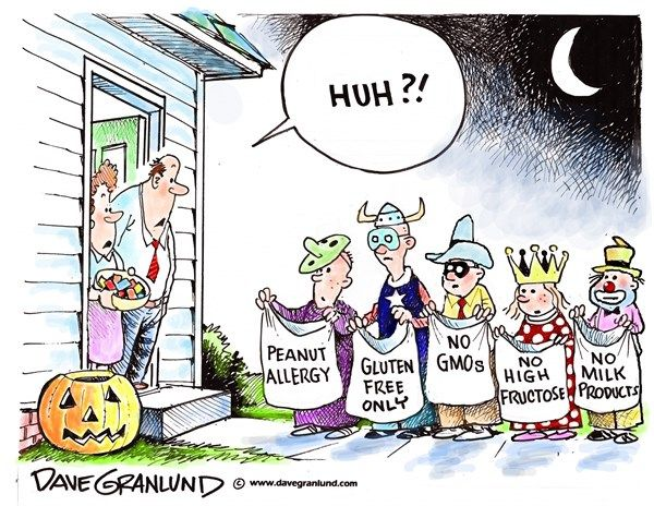 halloween tricky treats dave granlundpoliticalcartoonscomallergies food allergies - What Halloween Candy Is Gluten Free