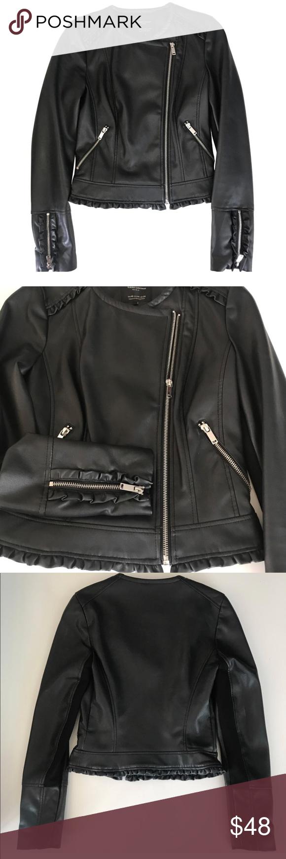 Zara Trafaluc Vegan Leather Cropped Jacket Crop Jacket Vegan Leather Jackets [ 1740 x 580 Pixel ]