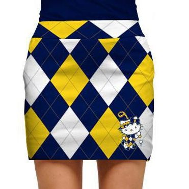 141575f07 Hello Kitty in Blue & Gold Womens Golfing Skorts by Loudmouth Golf. Buy it  @ ReadyGolf.com